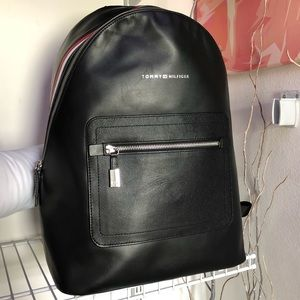 Tommy Hilfiger-Striped Leather Backpack